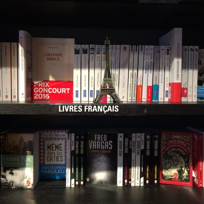 book shelf with french books