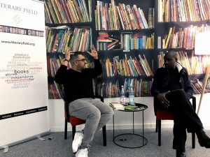 Nikesh Shukla and Musa Okwonga talking