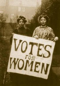image of two suffragettes