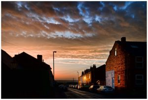 photo of a Northern British street at sunset