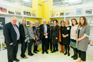 The Wales at LBF18 team with Culture Minister Dafydd Elis-Thomas (centre)