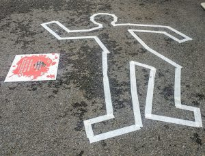 crime scene silhouette on the ground