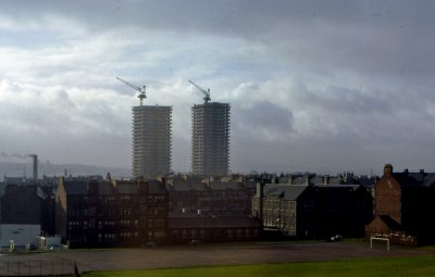 image of high-rise flats in Glasgwo being erected