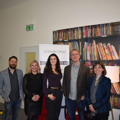 image of three poets and organisers of poetry reading