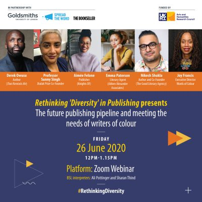 "Panel speakers on day 4: ""The future publishing pipeline and meeting the needs of writers of colour"" with Jhalak Prize Co-Founder Professor Sunny Singh, Publisher and Bookseller Aimée Felone (Knights Of and Round Table Books), Literary Agent Emma Paterson (Aitken Alexander Associates) and author and co-founder of The Good Literary Agency Nikesh Shukla; chaired by Joy Francis"