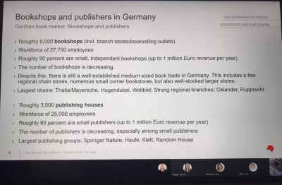 Statistics about German booksellers and publishers (power point slide)