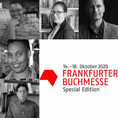 Frankfurt Book Fair Logo along with the portraits of Thabiso Mahlape, Sharmaine Lovegrove, Michiel Kolman, Anamik Saha and Sandra van Lente